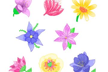 8款水彩绘花朵设计矢量图