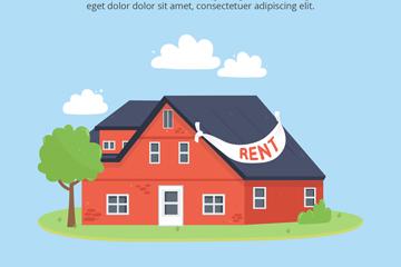 创意出租中的红色住宅矢量素材