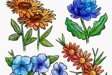 4款手绘逼真花卉设计矢量素材