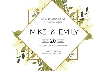 创意花卉装饰菱形婚礼海报矢量图