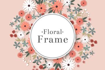 彩色质感菊花框架设计矢量图