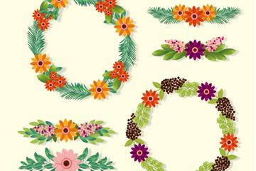 6款彩色质感花环和花边矢量图
