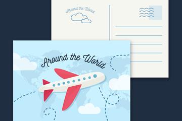 创意环球旅行飞机明信片矢量图