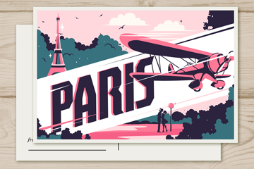 抽象巴黎风景明信片矢量素材