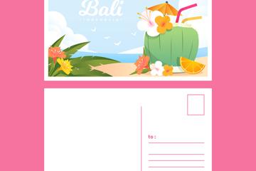 彩色巴厘岛沙滩明信片正反面矢量图