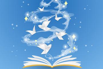 创意打开书籍里飞出的纸鸽子矢量图