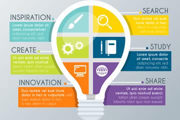 创意灯泡信息图设计矢量素材