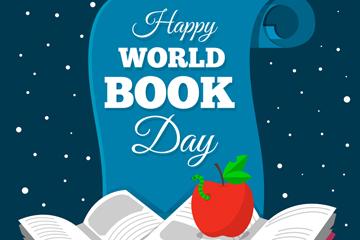 创意世界图书日书单和苹果矢量图