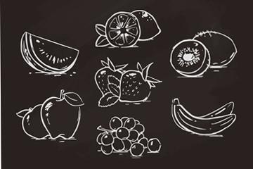 7款粉笔绘水果设计矢量图