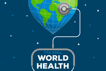 创意世界卫生日爱心地球矢量素材