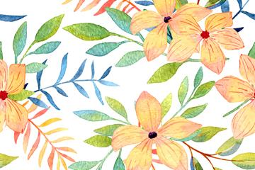 彩绘橙色花卉无缝背景矢量图