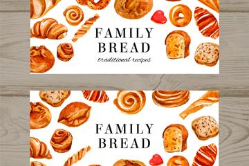 2款彩绘家庭面包banner矢量图