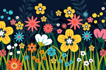 创意花丛设计矢量素材
