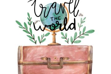 彩绘环球旅行地球仪和行李箱矢量图