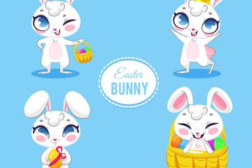 4款卡通复活节兔子设计矢量图