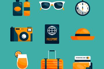 10款橙色旅游元素设计矢量图