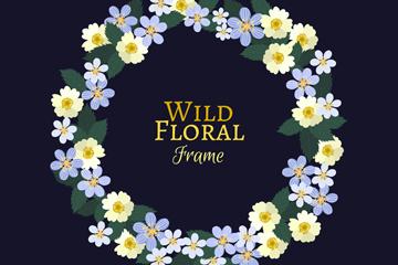 紫色和白色野生花卉框架矢量图