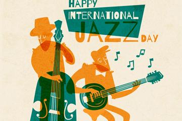彩色国际爵士乐日演奏的男子剪影