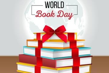 创意世界图书日书籍礼物矢量图