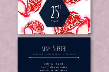 彩绘玫瑰花结婚纪念日邀请卡正反面矢量图