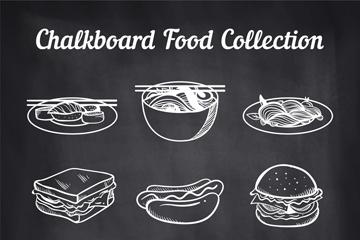 9款创意粉笔绘食物矢量素材