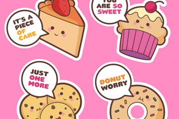 4款可爱表情甜品矢量素材