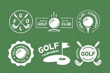 9款白色高尔夫元素标志矢量图