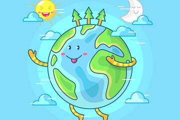 彩�L世界地球日微笑地球矢量素材