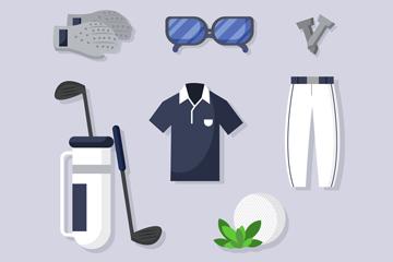 8款时尚高尔夫装备设计矢量图