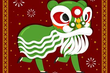 绿色春节舞狮子矢量素材