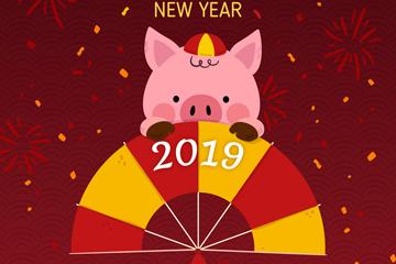 2019年可爱春节猪和扇子矢量图