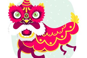 创意玫红色庆典舞狮子矢量素材
