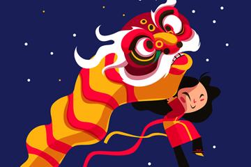 创意春节舞狮子女孩矢量素材
