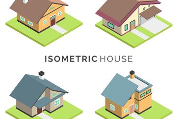 4款彩色立体房屋设计矢量图