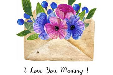 彩绘母亲节装满花卉的信封矢量图