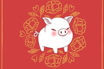 2019年白色猪和牡丹花贺卡矢量图