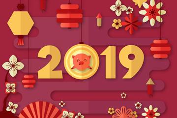 2019年扁平化灯笼和梅花贺卡矢量图