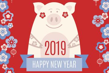 2019年可爱花卉和猪贺卡矢量素材