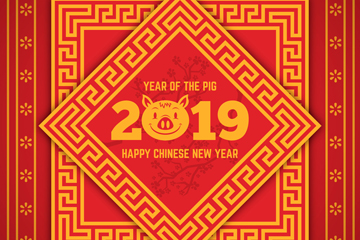2019年金色猪年菱形贺卡矢量素材