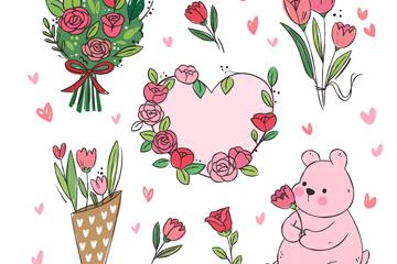 8款手绘情人节花卉元素矢量素材