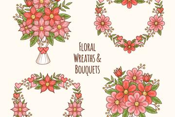 4款彩绘花束和花环矢量素材