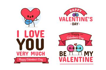 4款可爱情人节祝福语标签矢量图