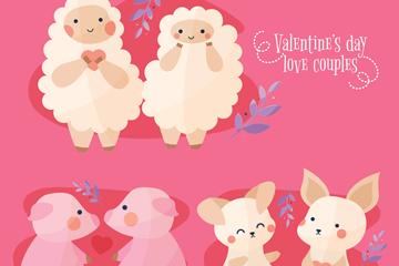 3对可爱情人节动物情侣矢量素材