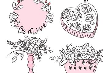 4款手绘情人节玫瑰花物品矢量图