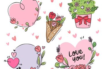 5款彩绘情人节花卉元素矢量素材