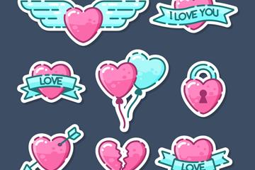 8款粉色和绿色爱心贴纸矢量图