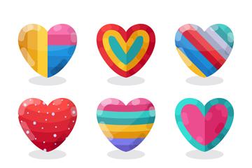 9款创意拼色爱心设计矢量图
