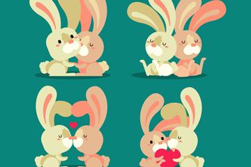 4对创意情侣兔子设计矢量素材