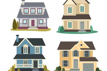 4款创意双层私人住宅设计矢量素材