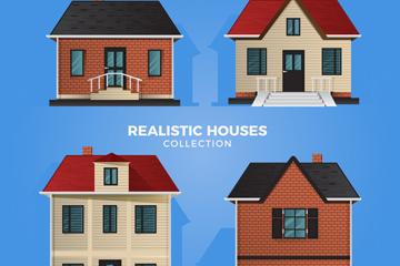 4款逼真整洁房屋设计矢量素材